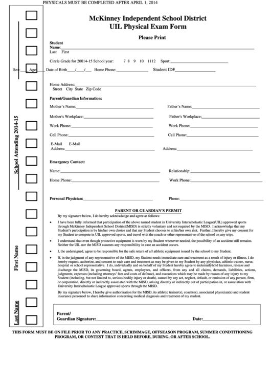Top Uil Physical Form Templates free to download in PDF, Word and ...