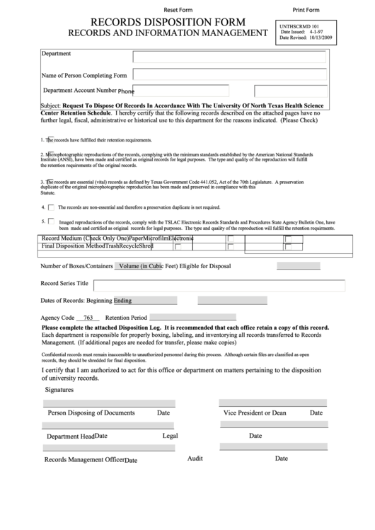 records disposition form printable pdf download