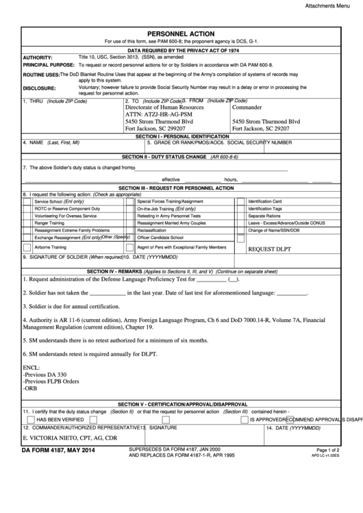 Dd Form 4187 4187 Reduction In Rank Example Fill Online Printable ...
