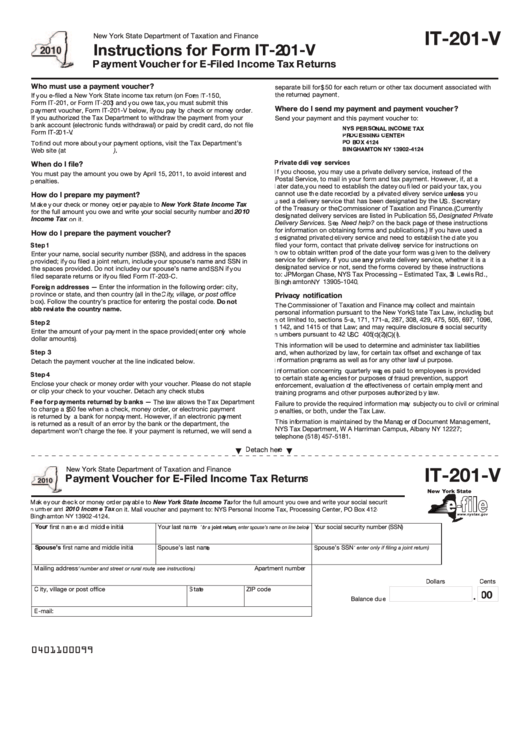Form It-201-v (2010) Payment Voucher For E-filed Income Tax Returns - New York State