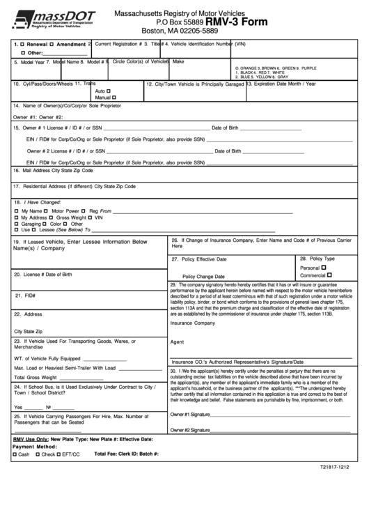 Rmv-3 Form - Mass Rmv printable pdf download
