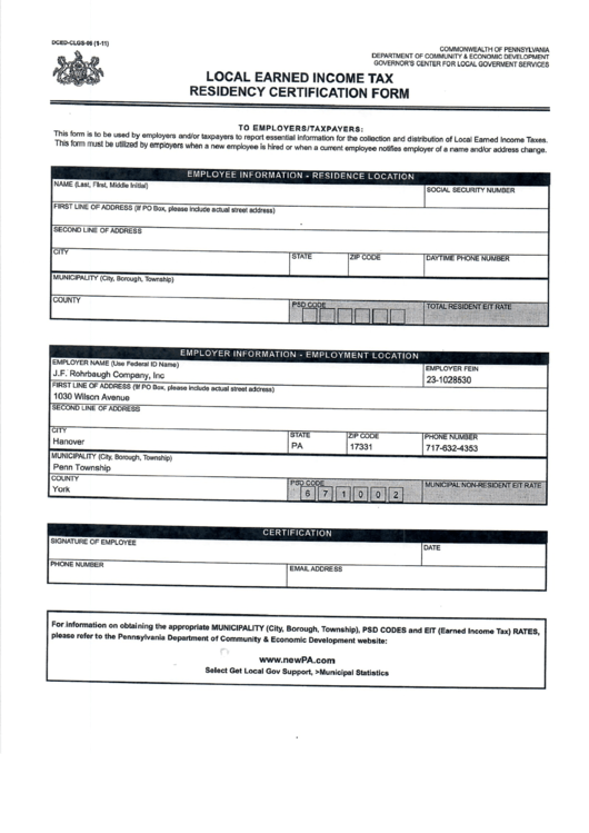 Pa Local Earned Income Tax Residency Certification Form printable ...