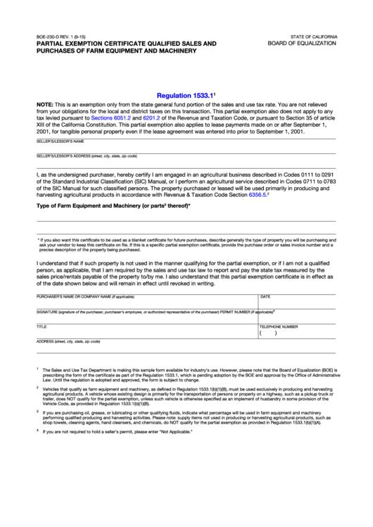 Fillable Boe-230-D Partial Exemption Certificate printable ...