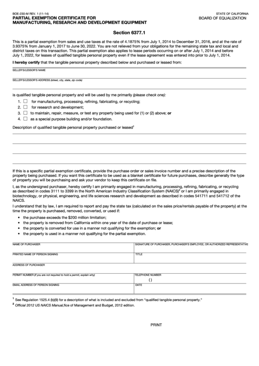 Fillable Partial Exemption Certificate - Board Of Equalization - State Of California Printable pdf