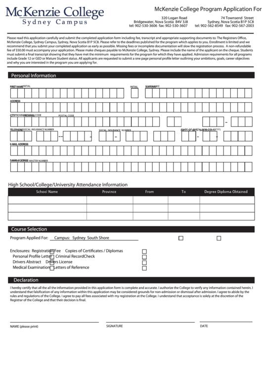 Fillable Program Application Form Printable pdf