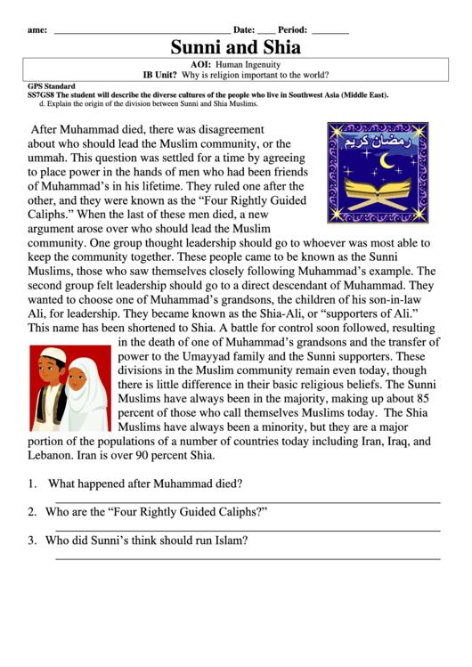 sunni and shia reading comprehension worksheet printable pdf download