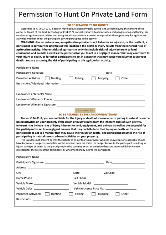 Top Hunting Permission Form Templates free to download in PDF ...