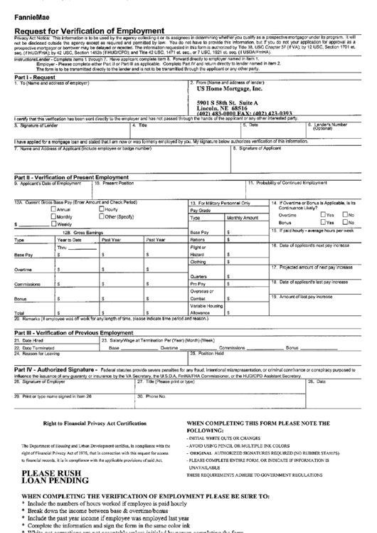 request for verification of employment