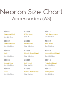 Neoron Accessories Size Chart