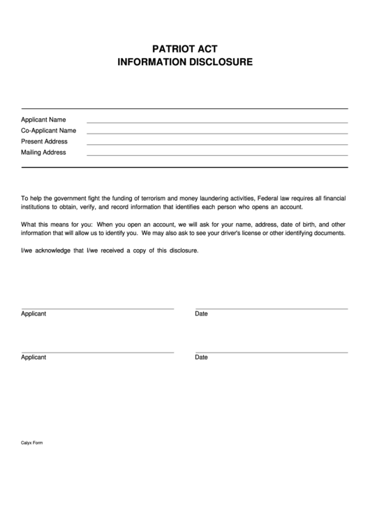 Top Patriot Act Form Templates free to download in PDF, Word and ...