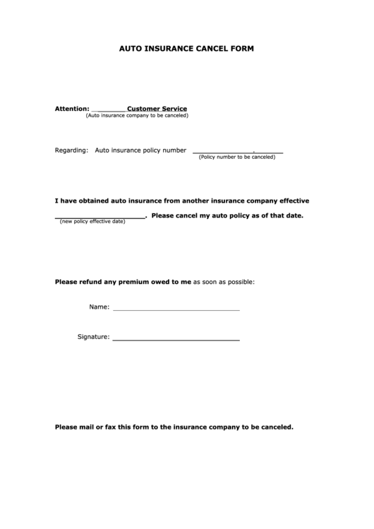 Top 5 Insurance Cancellation Form Templates free to ...
