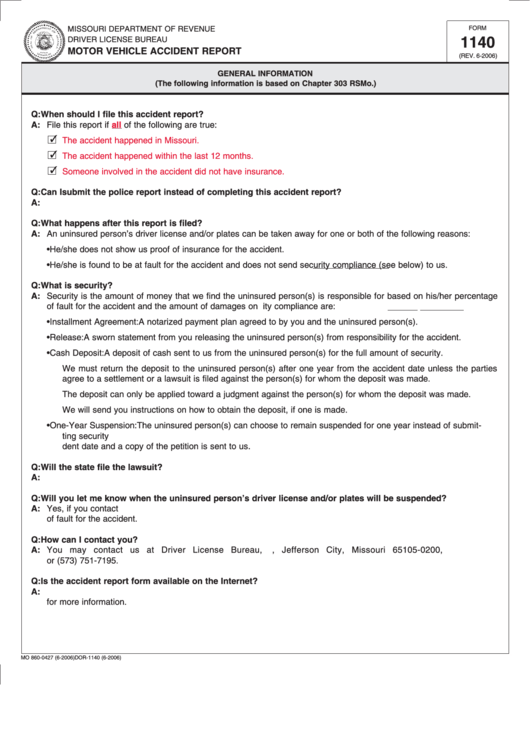 Fillable Form 1140 - Motor Vehicle Accident Report printable pdf