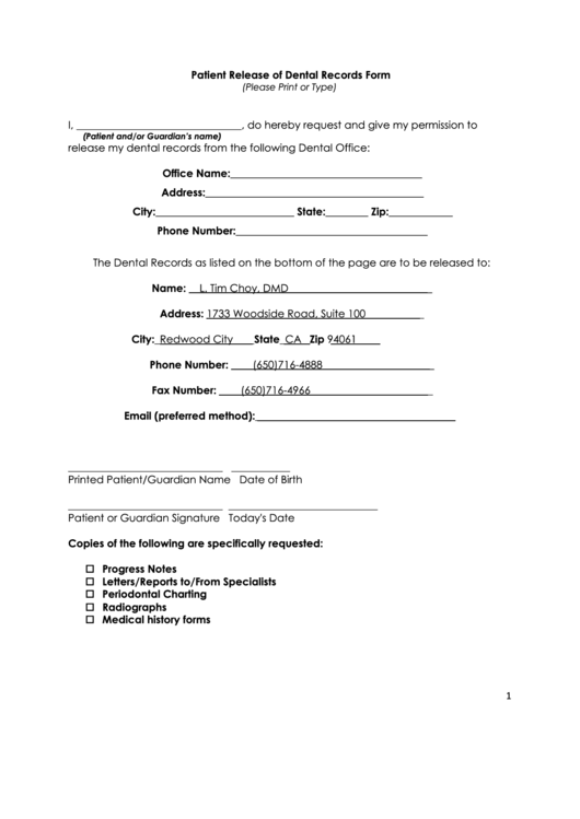 Fillable Patient Release Of Dental Records Form Printable Pdf