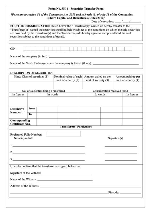 Form Sh 4 Securities Transfer Form Printable Pdf Download