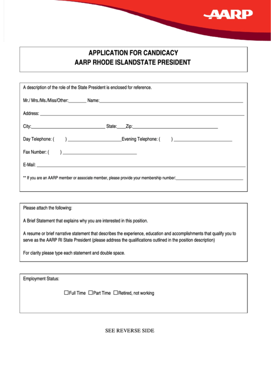 Aarp Rhode Island State President Application For
