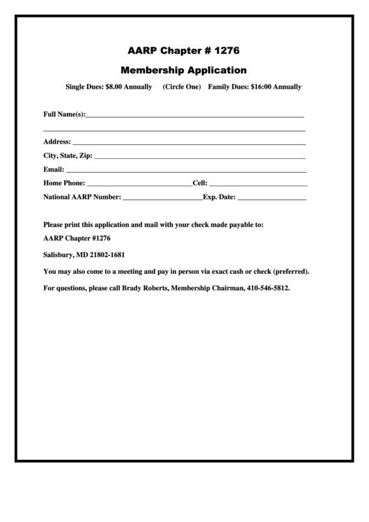 Aarp Membership Application Form printable pdf download