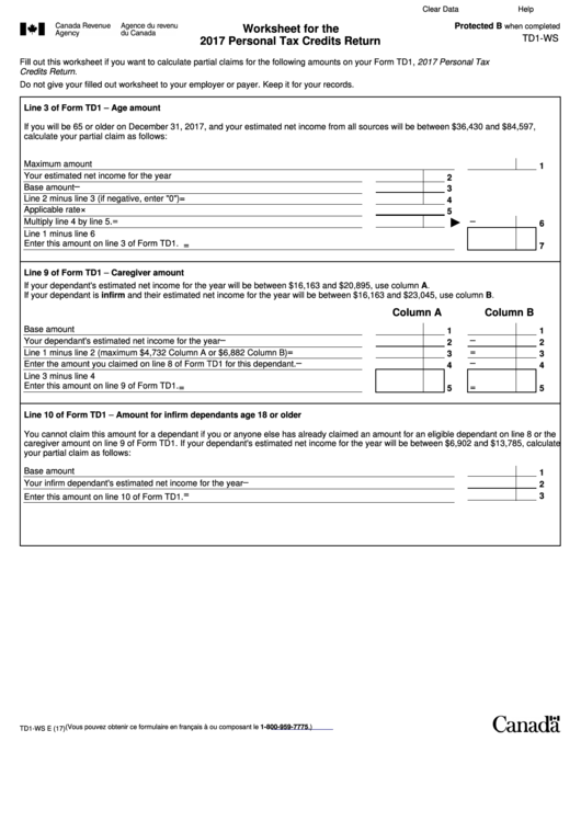 Td1 - Ws Worksheet For The 2017 Personal Tax Credits Credit ...