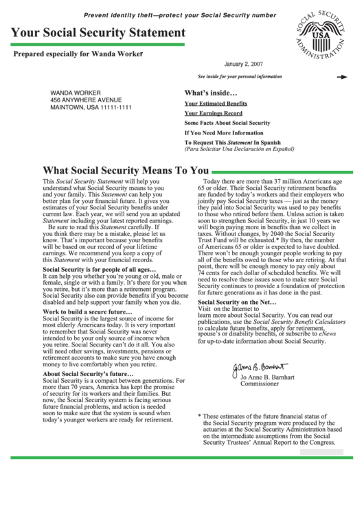 Your Social Security Statement Template Printable pdf