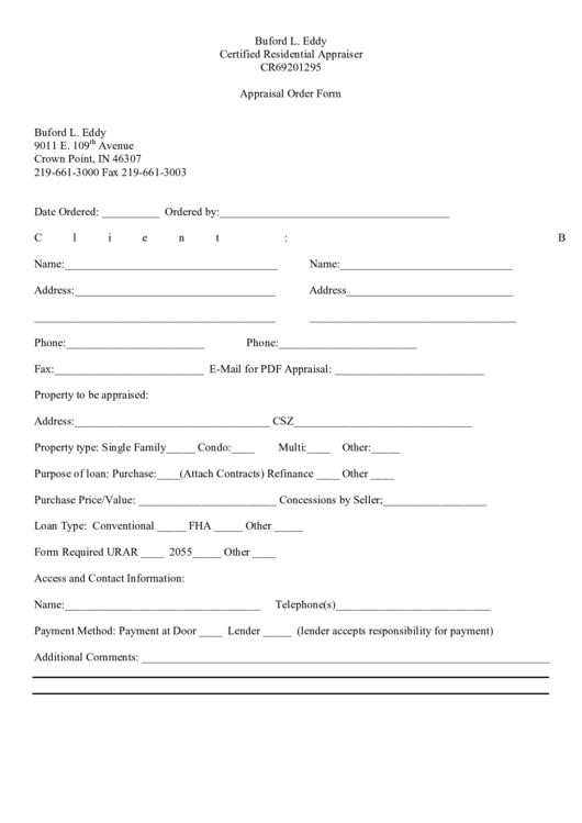 Appraisal Order Form
