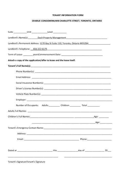 tenant information form printable pdf download
