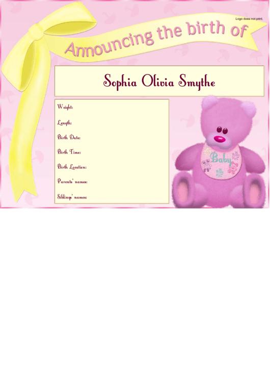 Girl Birth Announcement Template