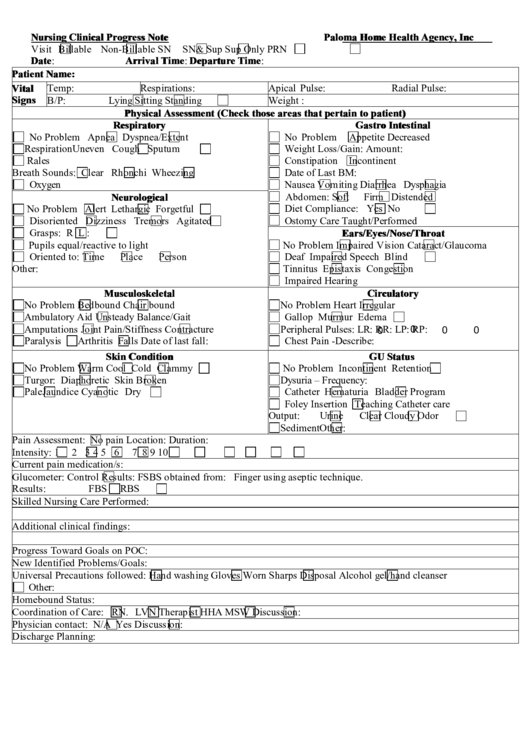 fillable nursing clinical progress note printable pdf download