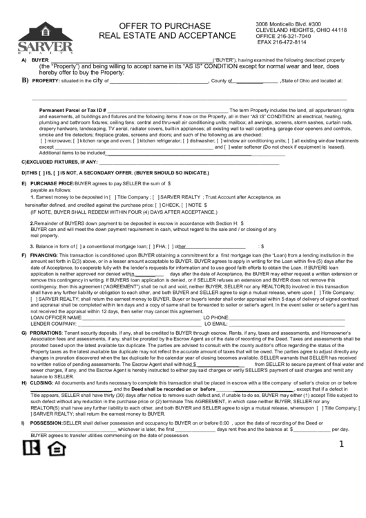 Offer To Purchase Real Estate And Acceptance Printable pdf