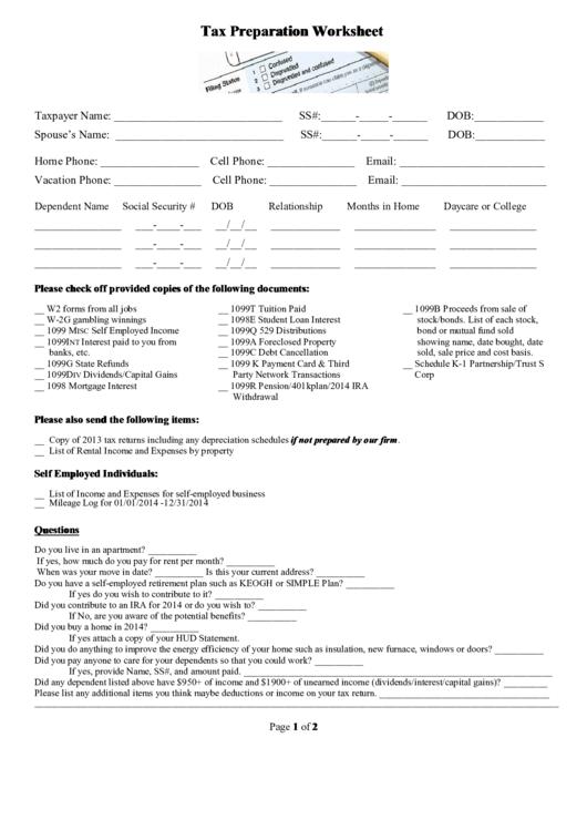 Tax Preparation Worksheet Printable Pdf Download