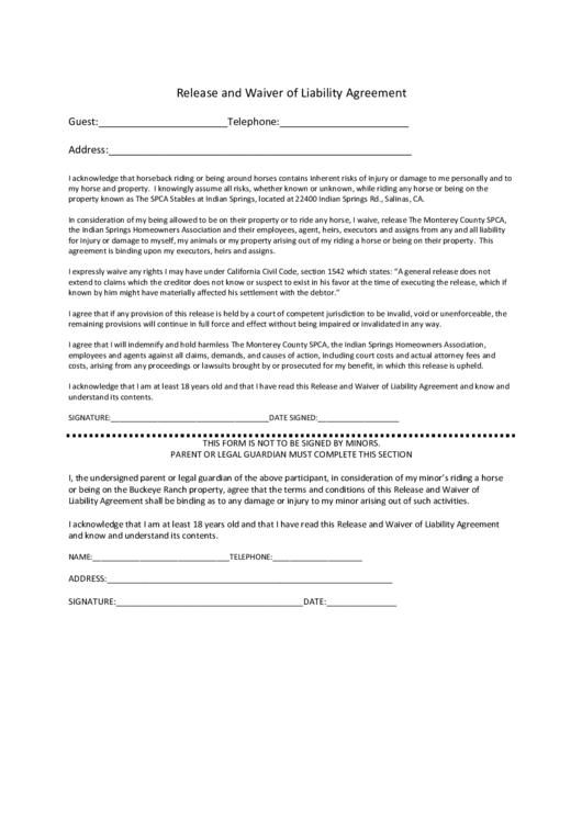 Release And Waiver Of Liability Agreement