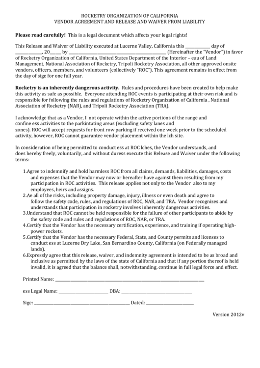 Rocketry Organization Of California Vendor Agreement And Release And Waiver From Liability