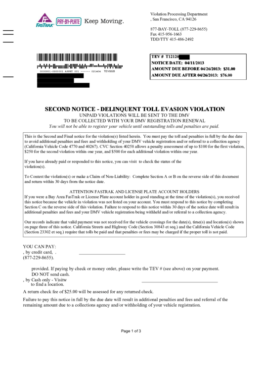 Affidavit Of Non-Liability / Contested Notice Of Toll Evasion