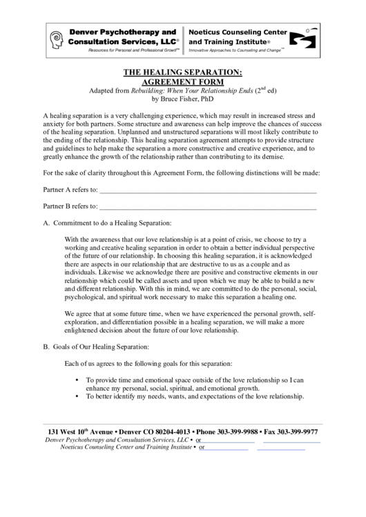 The Healing Separation: Agreement Form printable pdf download