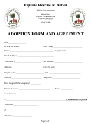 Equine Rescue Of Aiken Adoption Form And Agreement