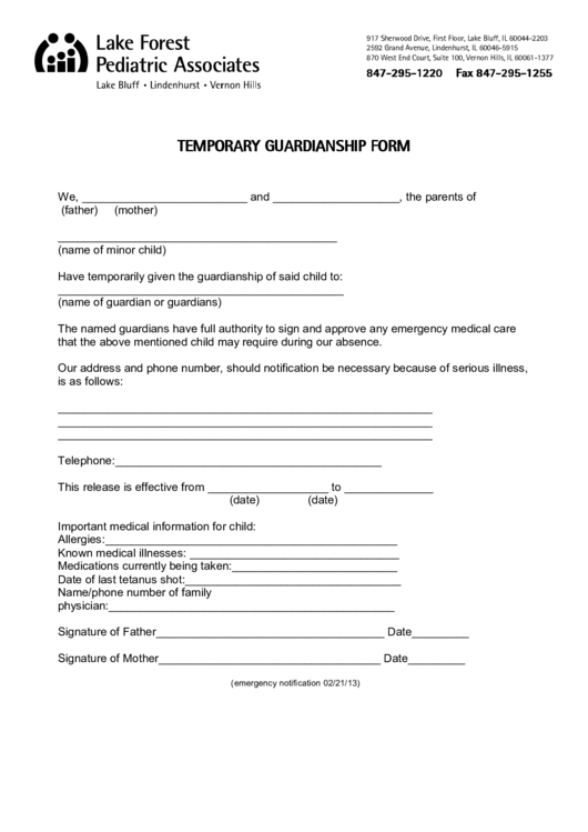 19 Temporary Guardianship Form Templates free to download in PDF