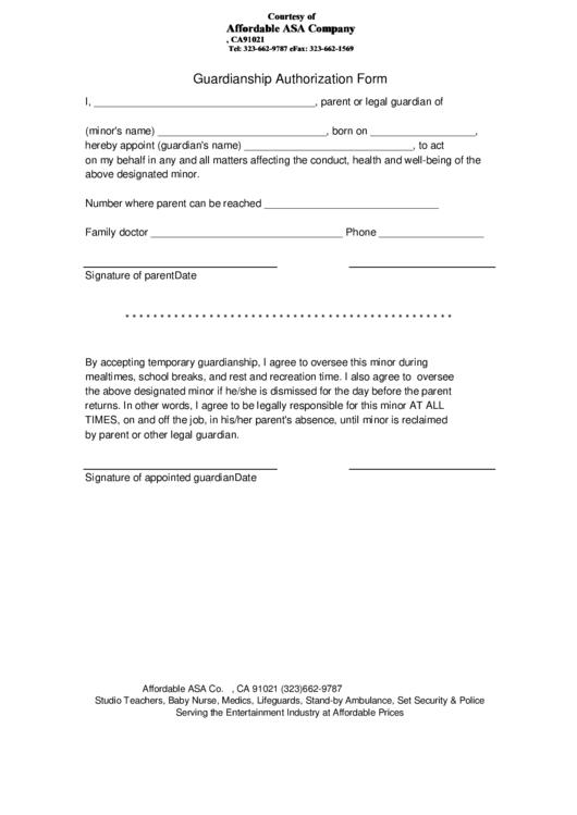 Guardianship Authorization Form