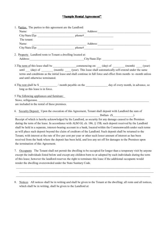 Sample Massachusetts Rental Agreement Template Printable Pdf Download
