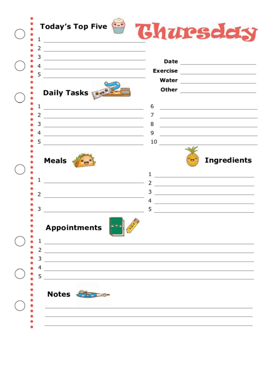 Daily Planner Template: Thursday Printable pdf