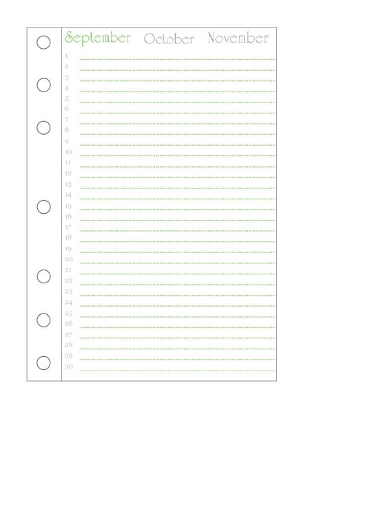 September Journal Template Printable pdf