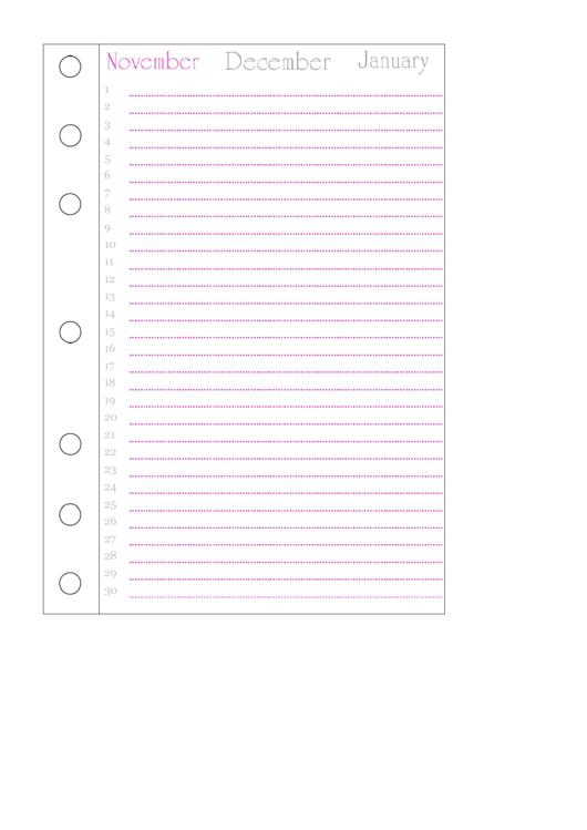 November Journal Template Printable pdf