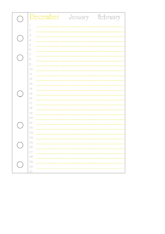 December Journal Template Printable pdf