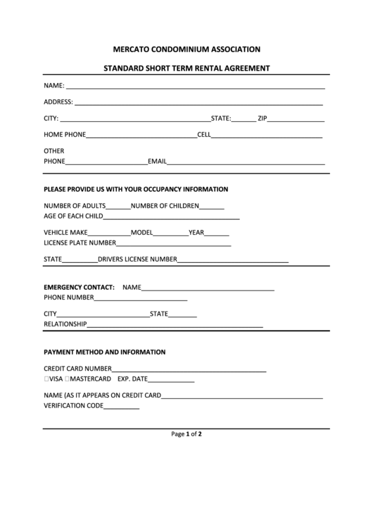 Standard Short Term Rental Agreement Template