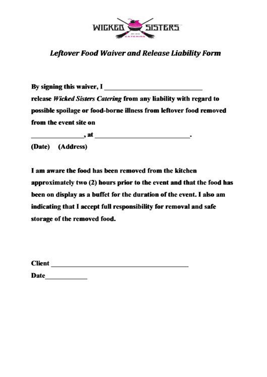 leftover food waiver and release liability form printable