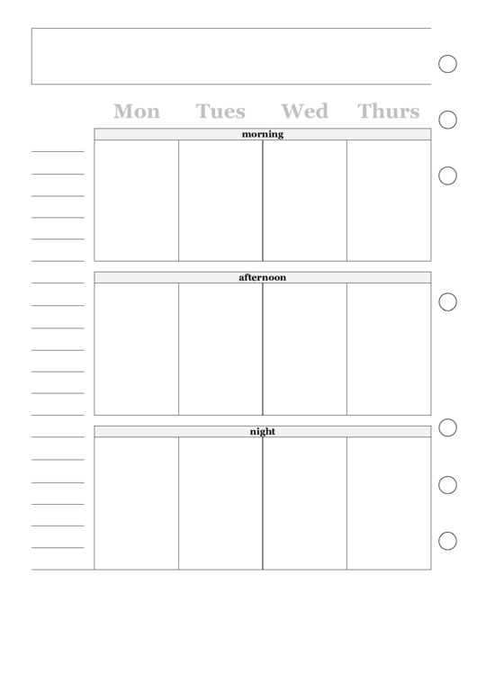 Two Page Weekly Calendar Template