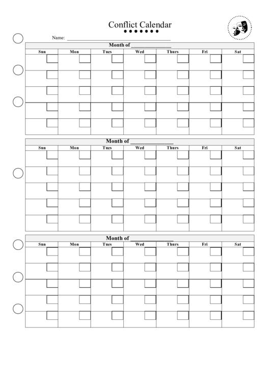 Life templates forms and charts download for Conflict calendar template