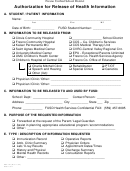 Form Hsf-121 - Authorization For Release Of Health Information