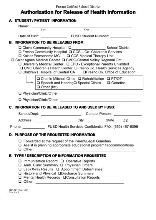 Fillable Form Hsf-121 - Authorization For Release Of Health Information Printable pdf