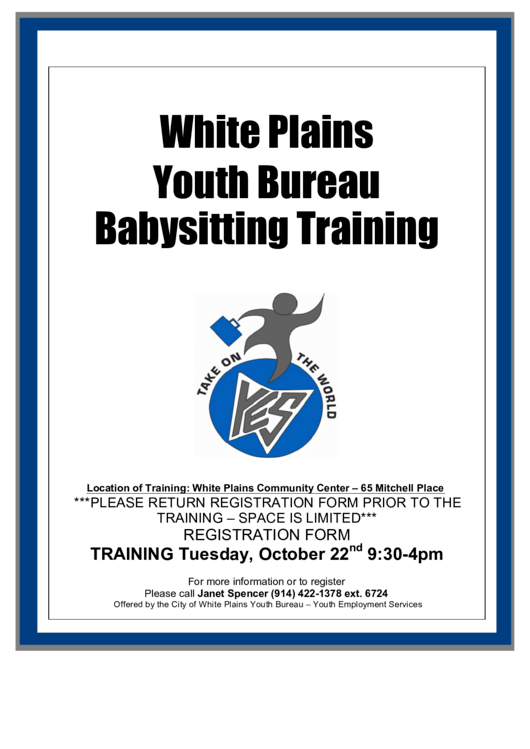 City Of White Plains Youth Bureau White Plains Youth Bureau Babysitter's Training Participation Form