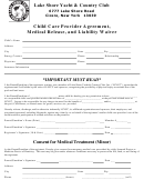 Child Care Provider Agreement, Medical Release, And Liability Waiver Form