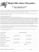 Mt. Olive Jr. Marauders Football Medical Release Form