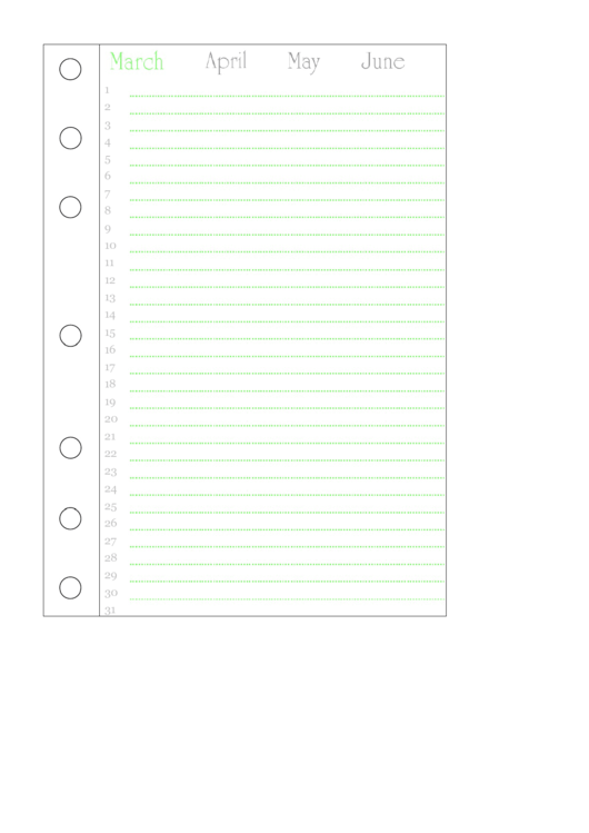 March Journal Template Printable pdf